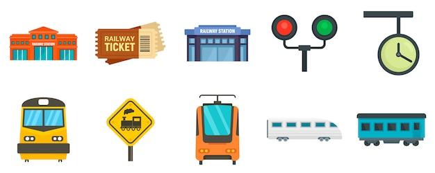 Railway station icons set