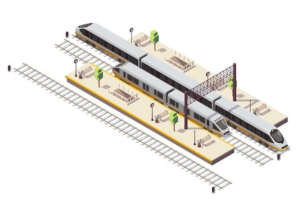 Изометрическая композиция железнодорожного вокзала с пассажирскими платформами, лестница, туннель, вход, железнодорожный автобус и скоростной поезд