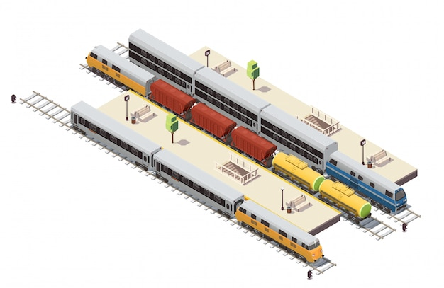 Railway station isometric composition with passenger platforms tunnel staircase entrance freight train and double decker illustration