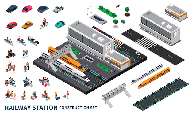 Railway station isometric constructor