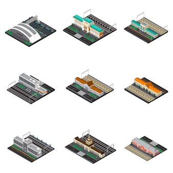 Railway station isometric set