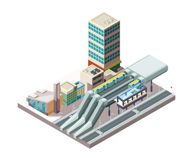 Railway station. metro train urban public transport in city architecture viaduct vector isometric buildings. railway train platform, architecture metro building illustration