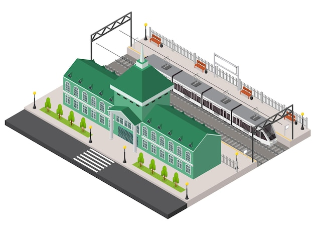 Железнодорожный вокзал, платформа и поезд изометрические внешний вид здания транспортный терминал концепция путешествия. векторная иллюстрация