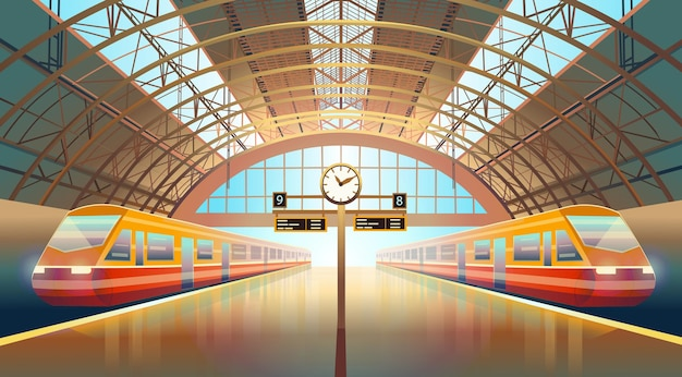 Railway station platform with modern high speed trains and a clock.