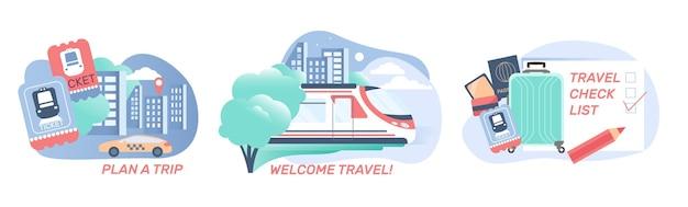 Railway station set of illustration