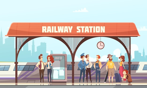 Railway station vector illustration