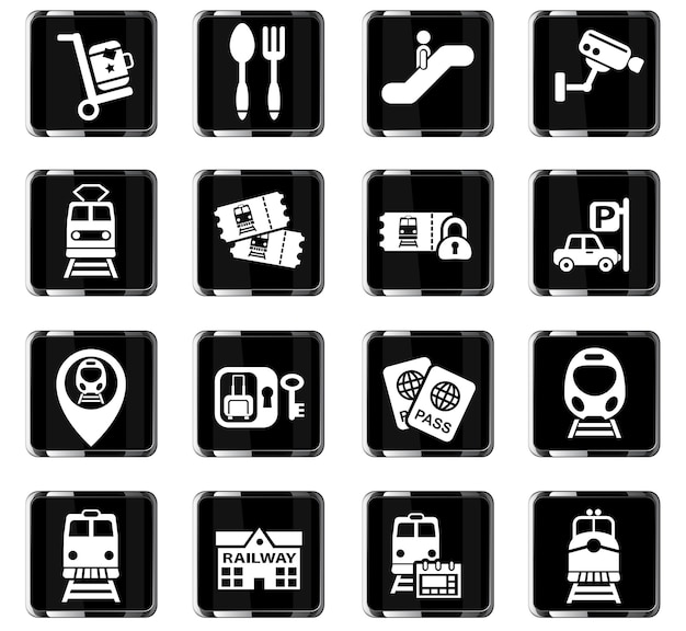 Railway station web icons for user interface design