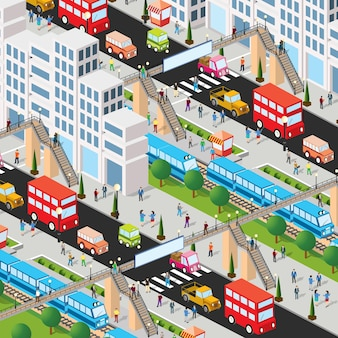 Railway station with train and people 3d street downtown architecture district