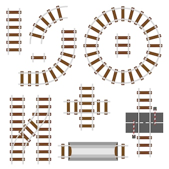 Railway structural elements. top view railroad tracks vector set