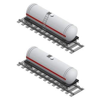 Railway tank for fuel in isometric view