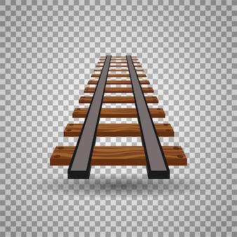 Binari ferroviari o linea stradale su sfondo trasparente. parte dell'illustrazione dell'elemento della rotaia diritta