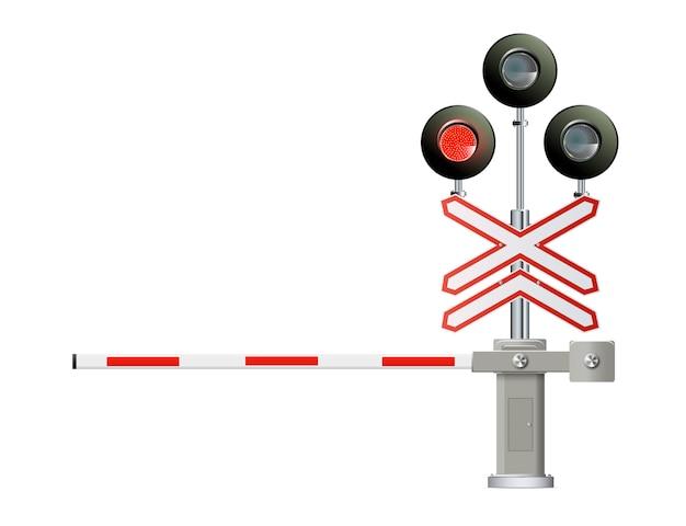Железнодорожный светофор, шлагбаум. простая современная иллюстрация.