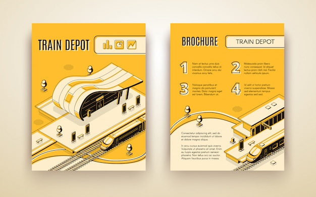 Railway transport company isometric advertising brochure