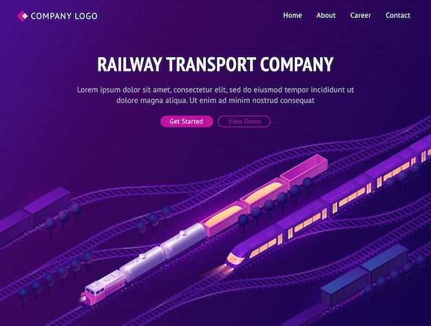 Railway transport company isometric landing page