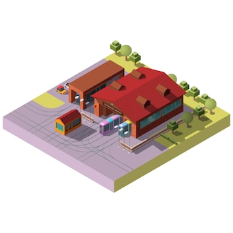 Railway transport depot hangar isometric