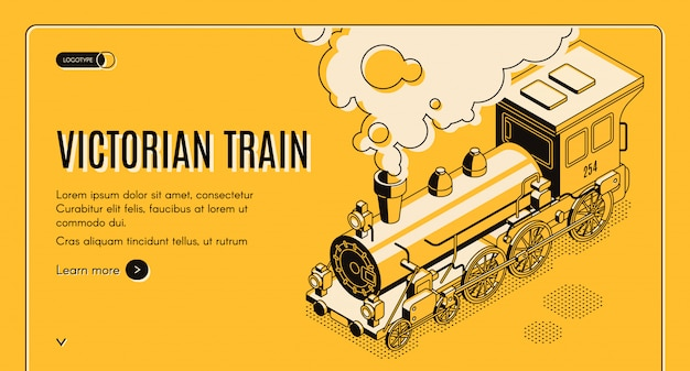 Railway transport history museum isometric web banner