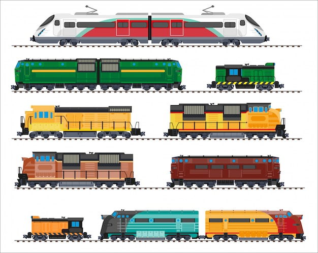 Railway transport: locomotives, trains, wagons
