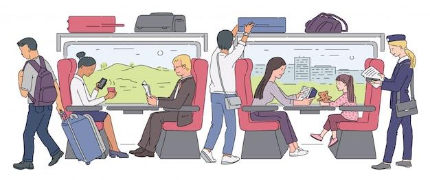 電車の中で乗客と一緒に旅行する鉄道