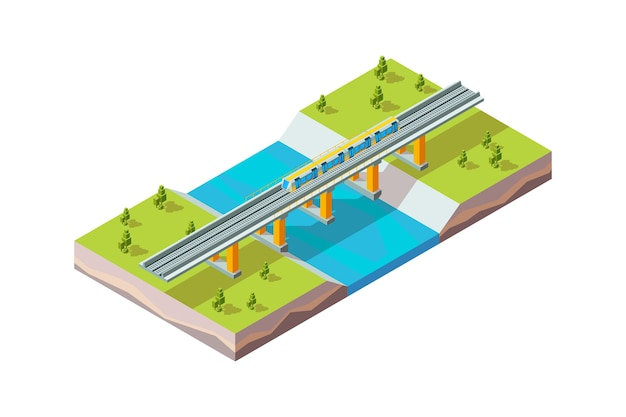 Railway viaduct. urban train above river modern city infrastructure railroad vector isometric. railway train, railroad transportation bridge illustration