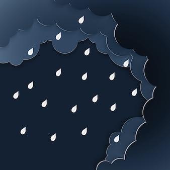 雨と雲、嵐の紙アートのベクトル