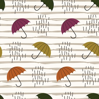 Rain and umbrella seamless pattern background multicolor