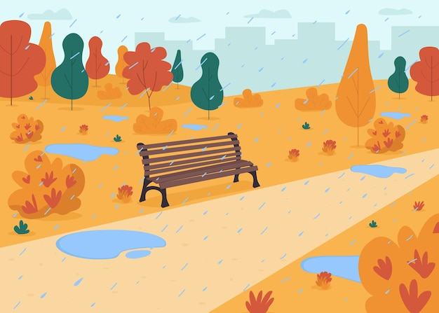 Rain in autumn park flat color illustration