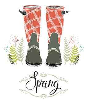Stivali da pioggia e erba di foresta primavera, scheda di progettazione