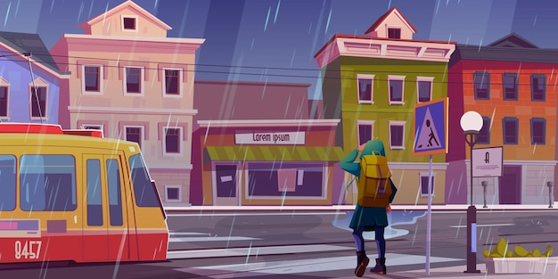 Rain on city street with houses, tram and pedestrian man waiting in front of crosswalk.