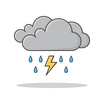 Rain cloud with raindrops and thunder strom icon illustration