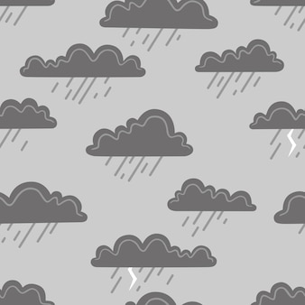Rain clouds on a grey background. vector seamless pattern