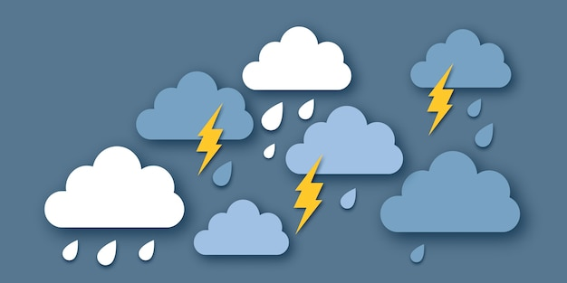 Rain clouds and lightening bolt. paper cut weather. storm time. rain drops and thunder. .