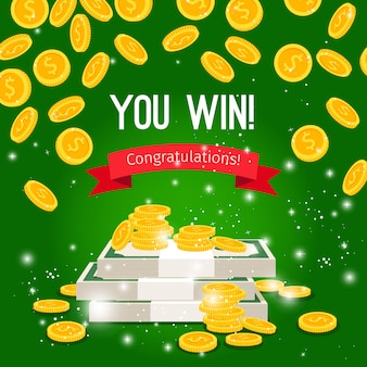 Rain coins and sign you win on green