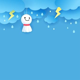 Rain doll on monsoon rainy season background vector