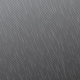 Капли дождя на прозрачном фоне. падающие капли воды. осадки природы.