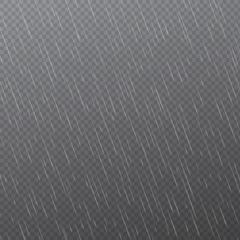 Rain drops on transparent background. falling water drops. nature rainfall.