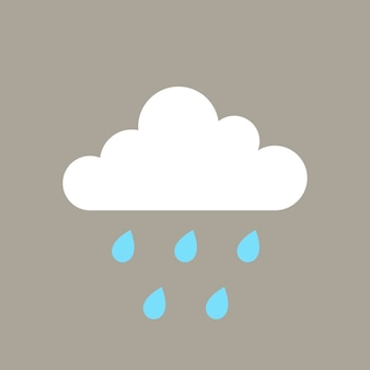 Rain element, cute weather clipart vector on grey background