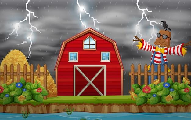 A rain at farmland