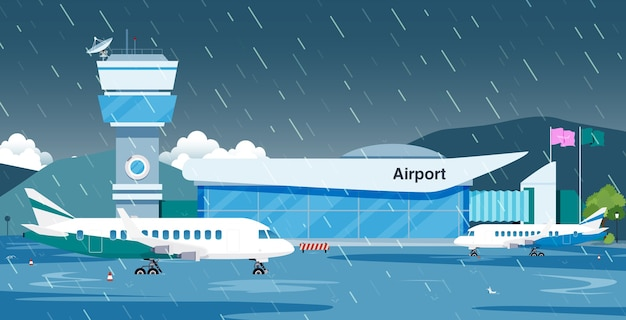 Rain flooded the runway until the plane could not fly