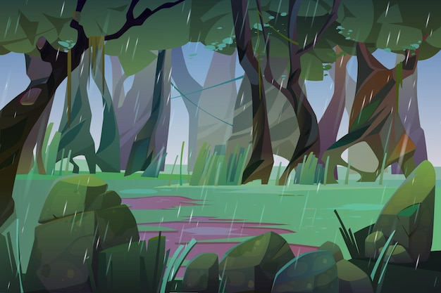 Дождь в летнем лесу иллюстрации