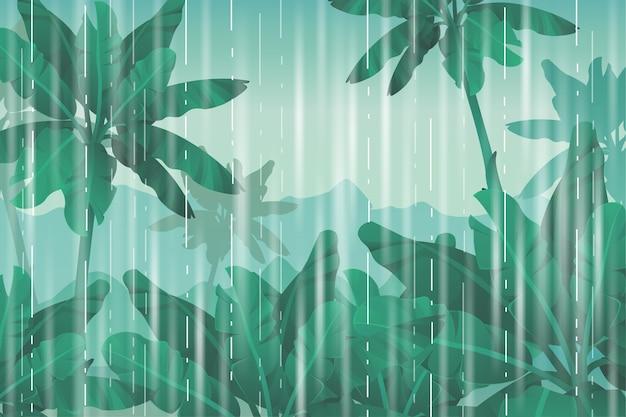 ジャングルで雨が降る。