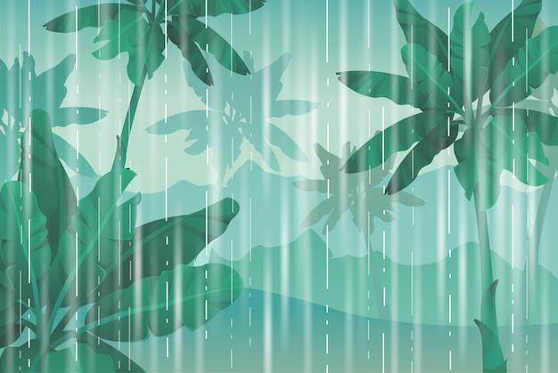 ジャングルの中で雨が降る。 Premiumベクター