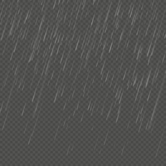 Rain isolated realistic anglewise effect. transparent nature rainfall template.