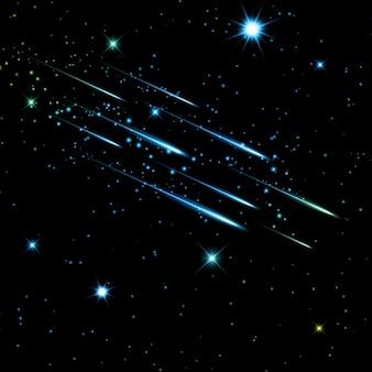 Звездное ночное небо с падающими звездами