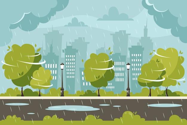 Дождь на фоне города