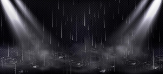 Rain, puddle ripples and spotlight beams, falling water drops and light