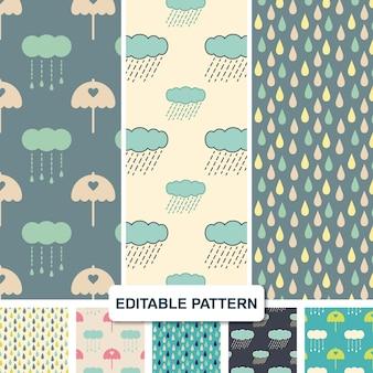 Rain seamless pattern set