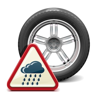 Rain tire with sign isolated on white