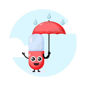 비 우산 캡슐 알약 문자 귀여운