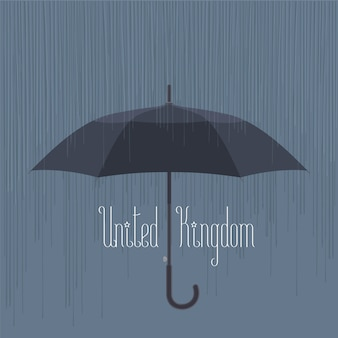 Rain and umbrella in uk, london vector illustration