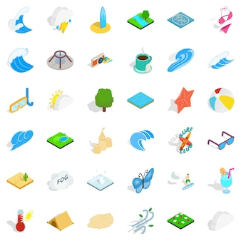 Rain water icons set, isometric style